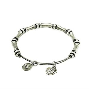 Alex and Ani Silver Tone Bamboo Bangle With Charms